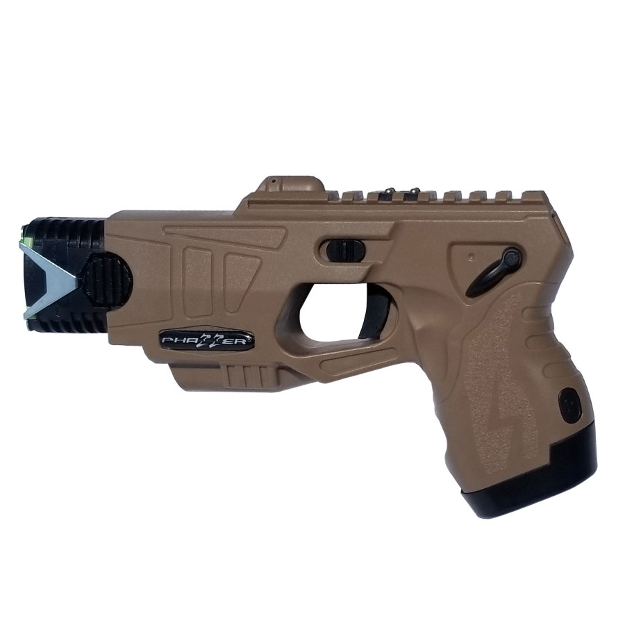 The PhaZZer FORCE™, a police grade CEW (coyote brown color).